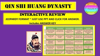 Chinese Dynasty  Qin Shi Huang  Jeopardy Game  for Review Grade 6