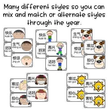Chinese Emotions Posters - Target Vocabulary for Word Wall