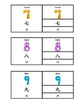Chinese/English Bilingual Montessori Three Part Cards - Numbers 1-10