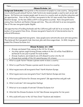 Chinese Exclusion Act Worksheet with Answer Key