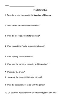 Chinese Feudalism Quiz