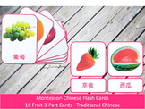 Chinese Flash Cards // Fruit // 16 Cards (Montessori) //Traditional