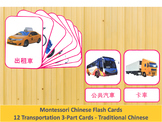 Chinese Flash Cards // Transportation // 12 Cards (Montessori) // Traditional