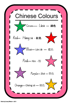 Chinese Flashcards and poster - colours