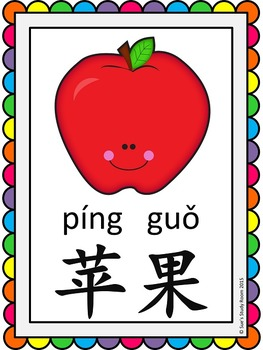 Chinese Fruits Posters (with/without Pinyin)