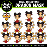 Chinese Girl Counting Dragon Mask Clip Art