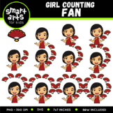 Chinese Girl Counting Fan Clip Art