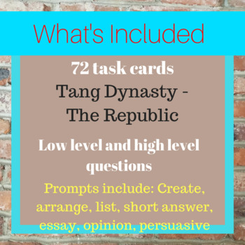 Chinese History Task Cards: Tang Dynasty - The Republic