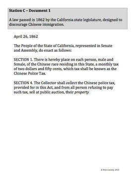 Chinese Immigration and Chinese Exclusion Act -- primary source learning centers