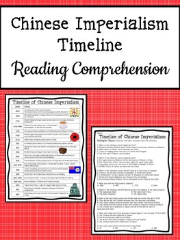 Chinese Imperialism Timeline Reading Comprehension Worksheet; China