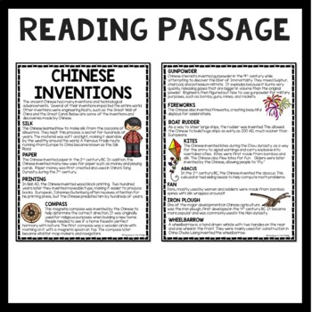 Chinese Inventions Reading Comprehension; Kite; Compass; Rudder
