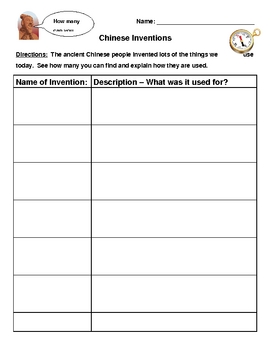 Chinese Inventions Research Worksheet