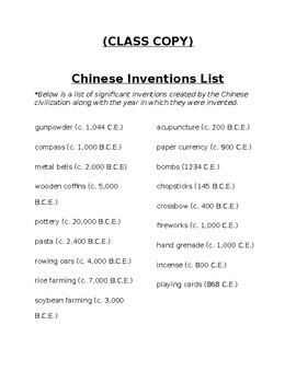 Chinese Inventions Thinker by Bruce Collection | TpT