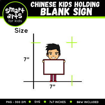 Chinese Kids Holding Blank Sign Clip Art