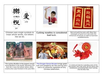 Chinese Montessori cards 36ct. Chinese New Year Fact cards and Culture