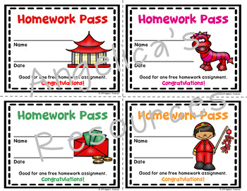 Chinese New Year 2019 : Homework Pass - Incentive Reward Coupon