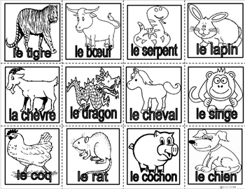 Chinese New Year Animal Zodiac Wreath in FRENCH-FSL and French Immersion