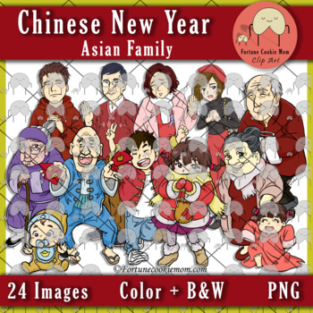Chinese New Year: Asian Family Clip Art