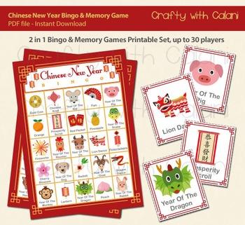 Chinese New Year Bingo & Memory Game, Lunar New Year Print