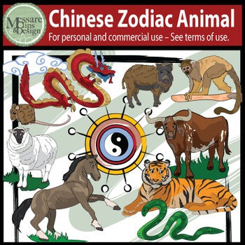 Chinese New Year Calendar Zodiac Animal Clip Art {Messare