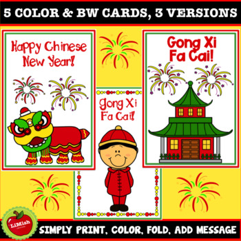 Chinese New Year Cards To Color In Or Print As Is
