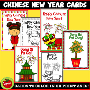 Chinese New Year Cards To Color In Or Print As Is by ...
