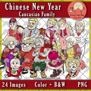 Chinese New Year: Caucasian Family Clip Art