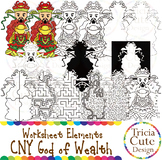Chinese New Year Clip Art CNY God of Wealth Worksheet Elements