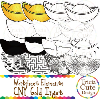 chinese new year clip art cny gold ingot worksheet elements