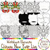 Chinese New Year Clip Art CNY Lion Worksheet Elements