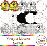 Chinese New Year Clip Art CNY Rooster Worksheet Elements