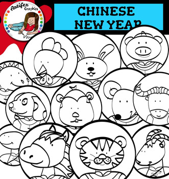 Chinese New Year Clip Art and zodiac animals!- Color/ black&white-53 items!