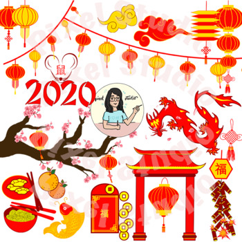 Chinese New Year Clipart, Lanterns, Zodiac, Firecrackers ...