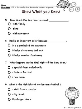 Chinese New Year Close Read 2017~Vocab, Comprehension, Writing, Craft, and More