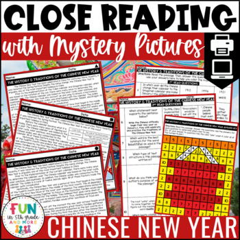 Chinese New Year 2018 Close Reading Comprehension w/ Mystery Picture Activity