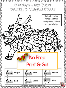Chinese New Year Music Lessons: 26 Music Color by Note Pages