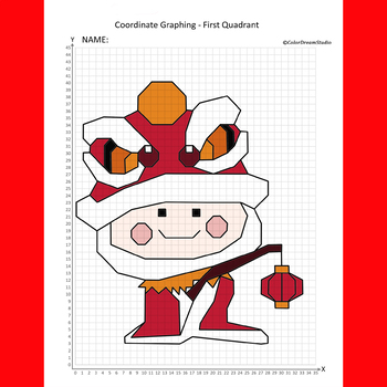 Chinese New Year Coordinate Graphing Picture:Lion Dancer/Lantern