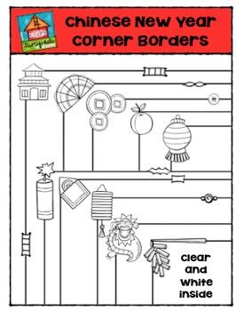 Chinese New Year Corner Borders  {P4 Clips Trioriginals Digital Clip Art}