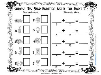 Chinese New Year Count, Add, Subtract & Graph: Write the Room BUNDLE