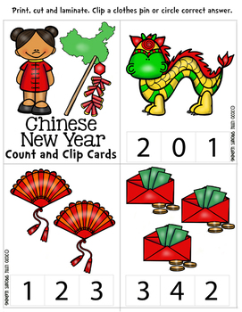 Chinese New Year Count and Clip cards Numbers 0-20 plus worksheets