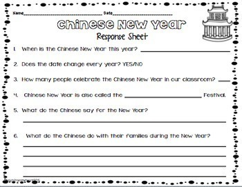 Chinese New Year Craftivity & Printables