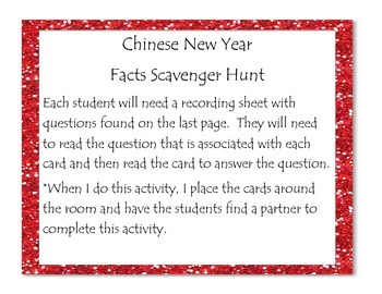 chinese new year facts scavenger hunt - Chinese New Year Facts