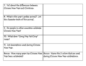 Chinese New Year Facts Scavenger Hunt