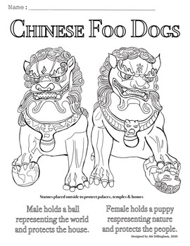 Chinese New Year Foo Dogs Coloring Page
