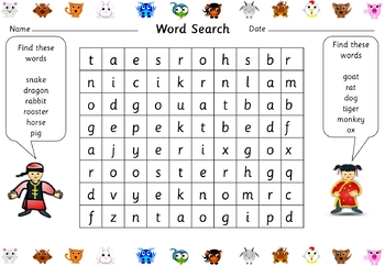 Chinese New Year Free Word Search
