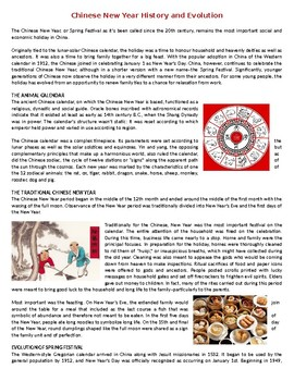 Chinese New Year History and Evolution - Reading Comprehension Worksheet