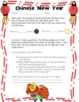 Chinese New Year: Language Arts Skills Practice