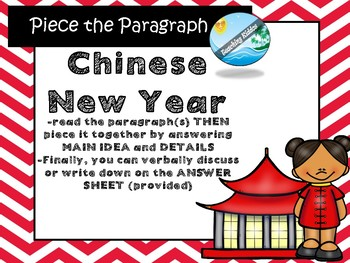 Chinese New Year MAIN IDEA comprehension and questions 2020