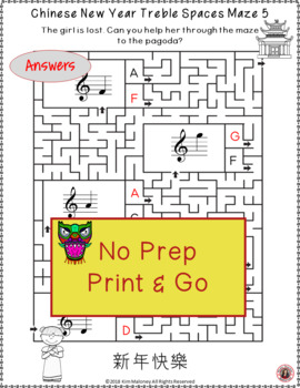 Chinese New Year Music Activities: Treble Pitch Mazes for Treble Note Spaces