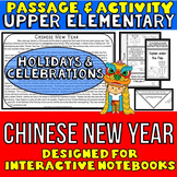 Chinese New Year Reading Passage and Questions: Interactive Notebook Activity